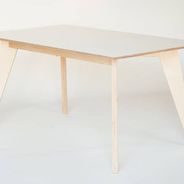 HUH Dining Table - White Film Plywood Top, Natural Waxed Legs 75x150cm