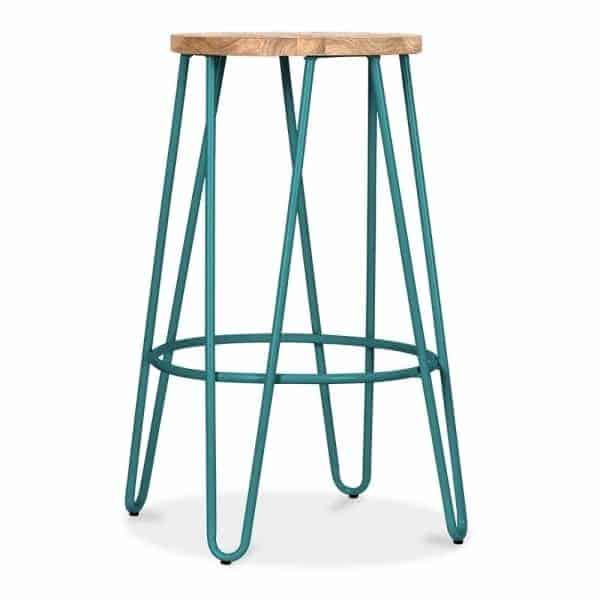 Teal Hairpin Stool
