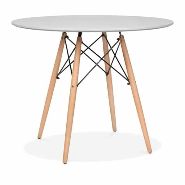 DSW Round Dining Table - Grey Top Natural Leg Finish