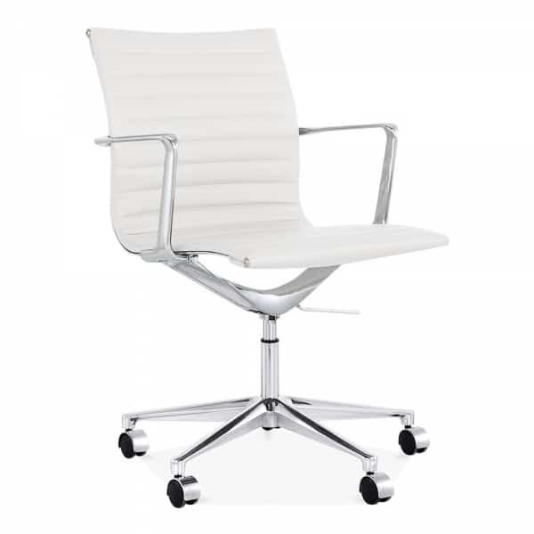 Ribbed Office Chair - Short Back Design - White