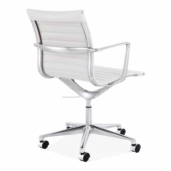 Ribbed Office Chair - Short Back Design - White