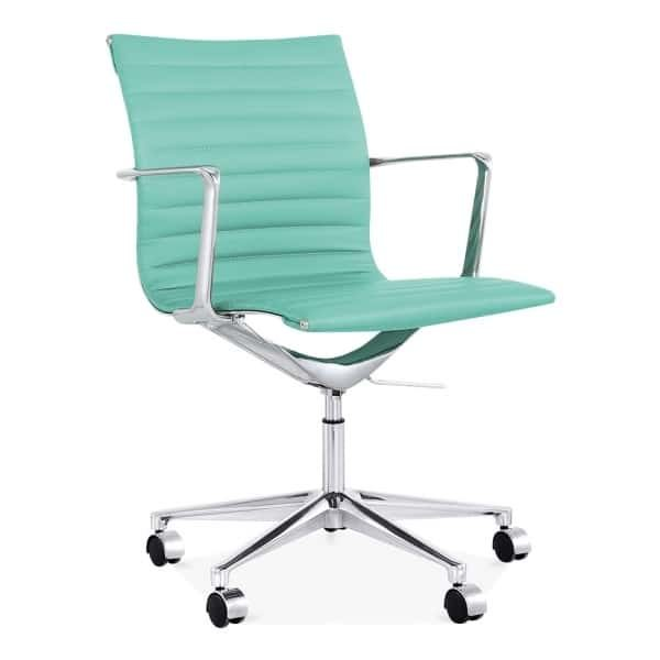 Ribbed Office Chair - Short Back Design - Turquoise