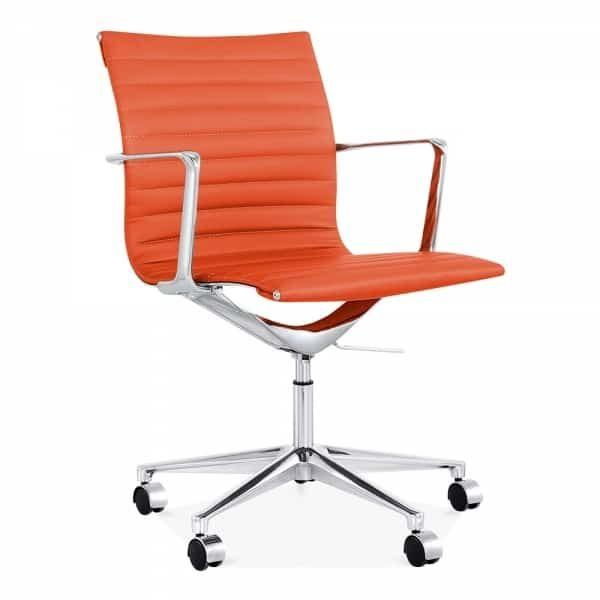 Ribbed Office Chair - Short Back Design - Orange