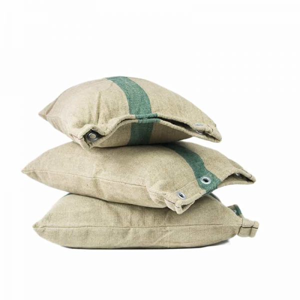 Beige Green Recycled Canvas Cushion 32x45