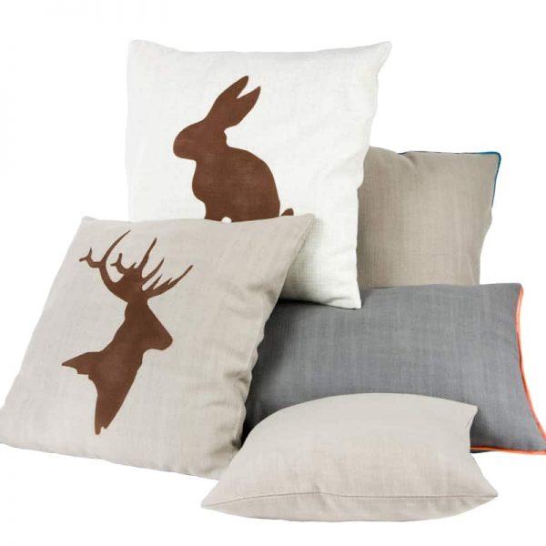 GIE Beige Brown Deer Print Cushion 50x50