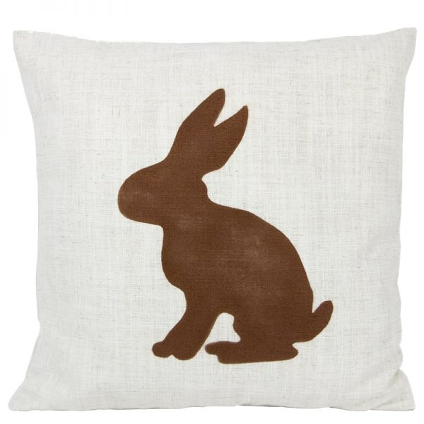GIE Ecru Brown Rabbit Print Cushion 50x50
