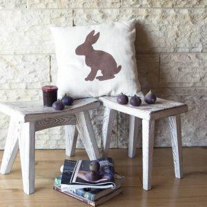 GIE Ecru Brown Rabbit Print Cushion 50x50
