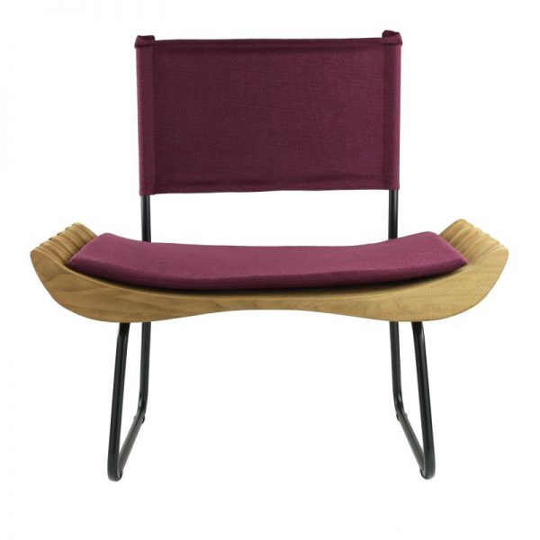 Organique Armchair Gie El Burgundy Natural Wood