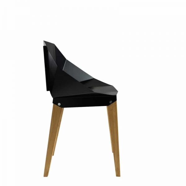Symmetrical Bent Steel Black Chair Solid Wood Legs