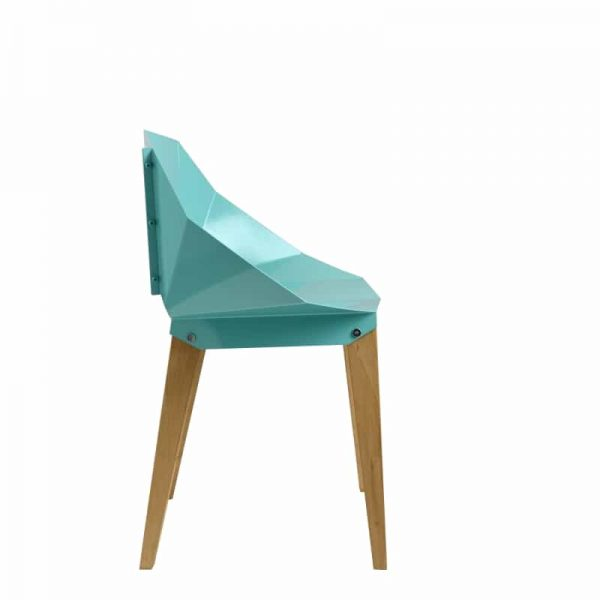 Symmetrical Bent Steel Soft Turquoise Chair Solid Wood Legs