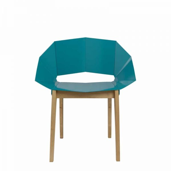 Symmetrical Bent Steel Deep Green Chair Solid Wood Legs