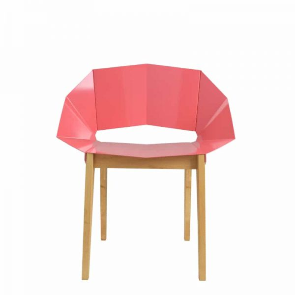 Symmetrical Bent Steel Dusty Pink Chair Solid Wood Legs