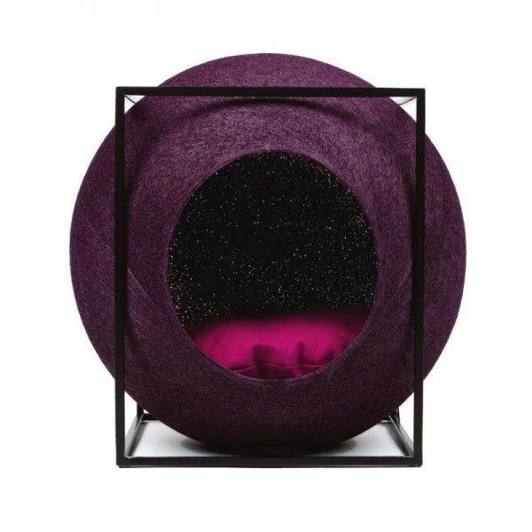 Meyou Paris - Plum Cube, designer furniture for your pet - Hand-Woven Cocoon