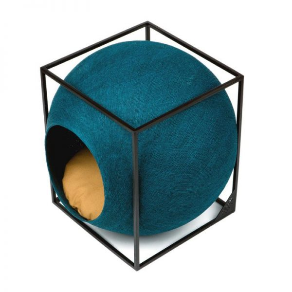 Meyou Paris - Peacock Cube, designer furniture for your pet - Hand-Woven Cocoon