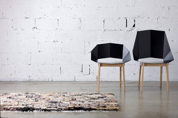 Symmetrical Bent Steel Black High-Back Chair