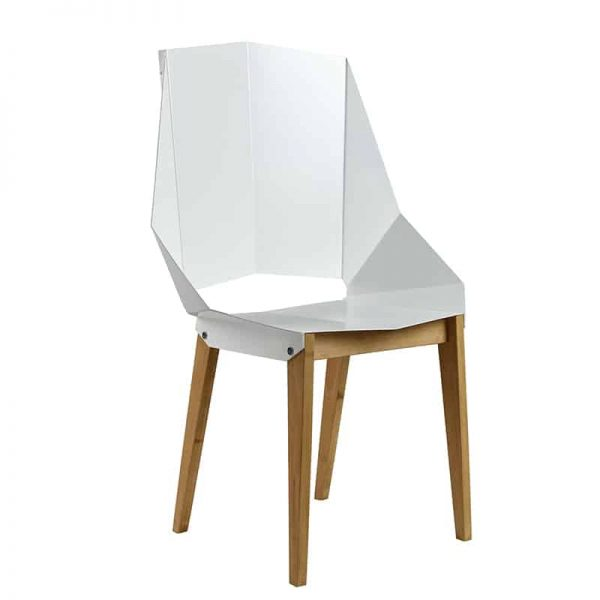 Symmetrical Bent Steel White High-Back Chair
