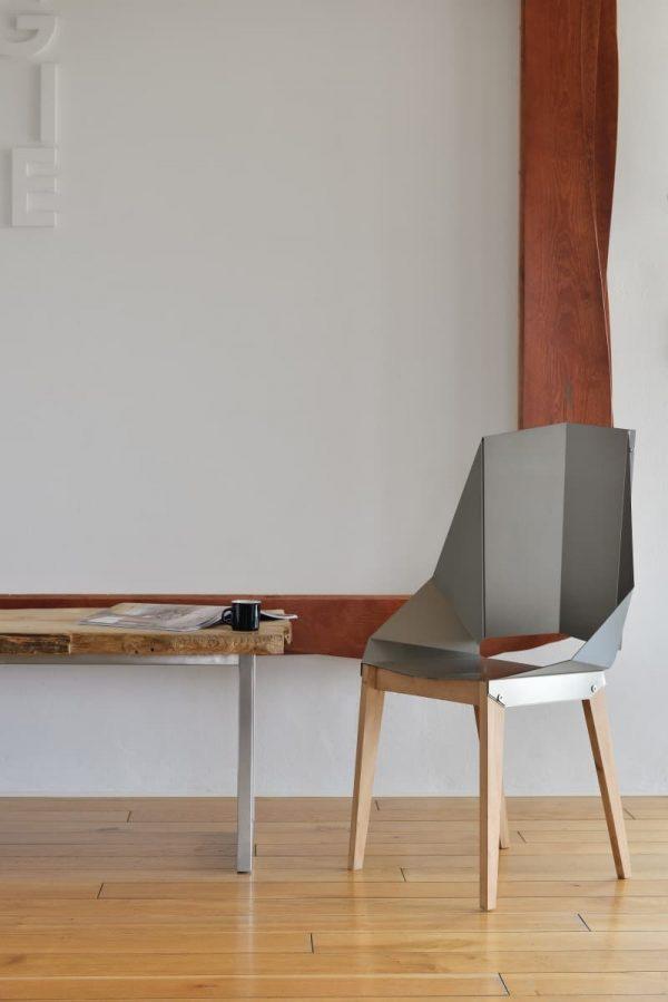 Symmetrical Bent Steel Natural Steel High-Back Chair