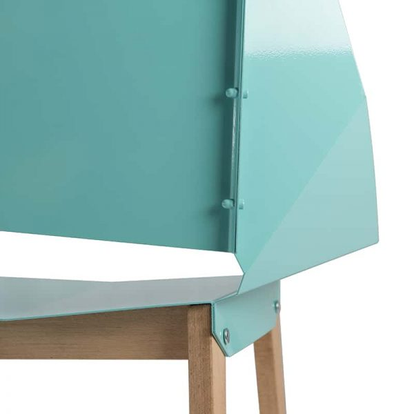 Symmetrical Bent Steel Turquoise High-Back Chair