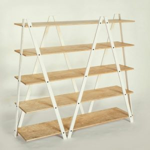 White Waxed Frame / Oak Oil Waxed Shelves