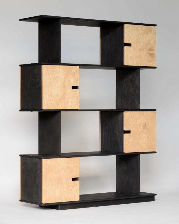 PIX Shelving Unit 4 Levels - Black Grey Frame / Oak Doors