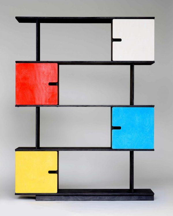 PIXShelf - Shelving Unit 4 Levels - Black Grey Frame / Colourful Doors