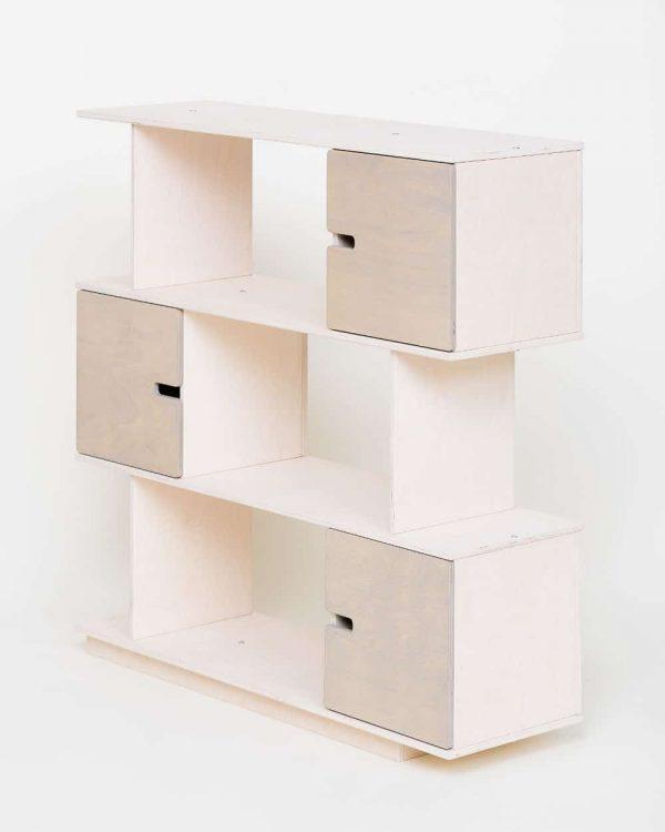 Shelving Unit 3 Levels - White Frame / Pebble Grey Doors