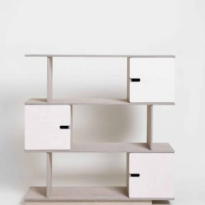 Shelving Unit 3 Levels - Pebble Grey Frame / White Doors