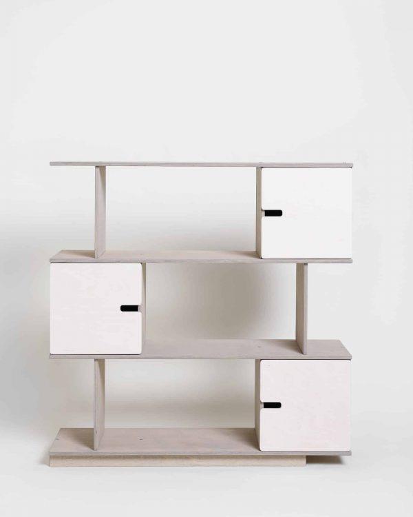 Shelving Unit 3 Levels - Pebble Grey Frame / White Doors