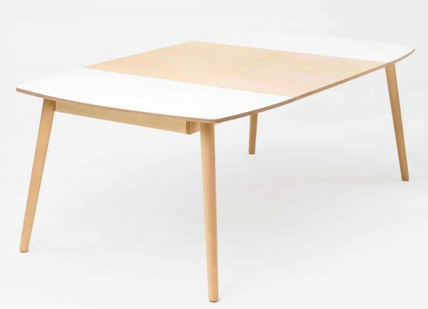 NAM-NAM Extending Dining Table - White Top Oak Waxed Legs 120x220cm