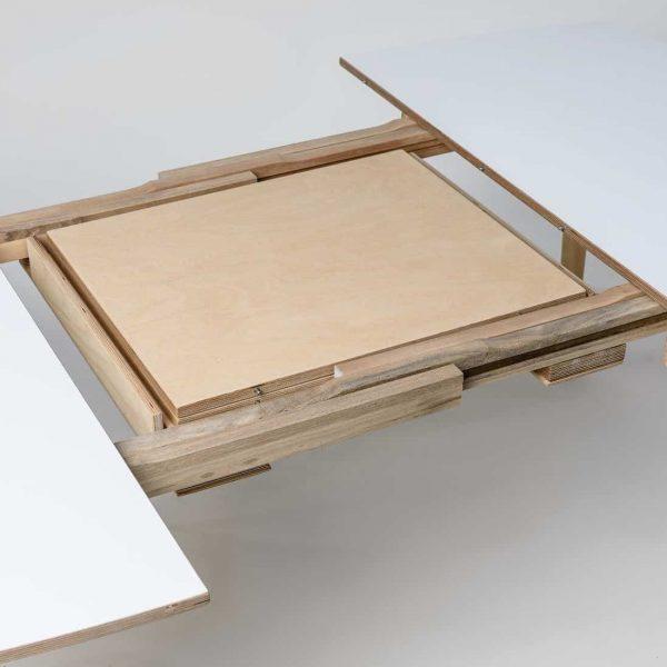 NAM-NAM Extending Dining Table - White Top Oak Waxed Legs 120x220cm