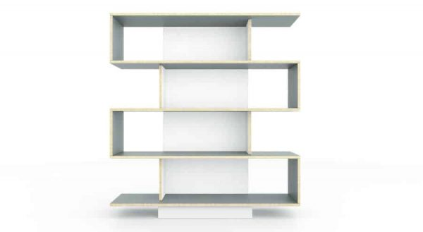 SAM Shelving Unit 120cm Wide- Pebble Grey / White Film Doors
